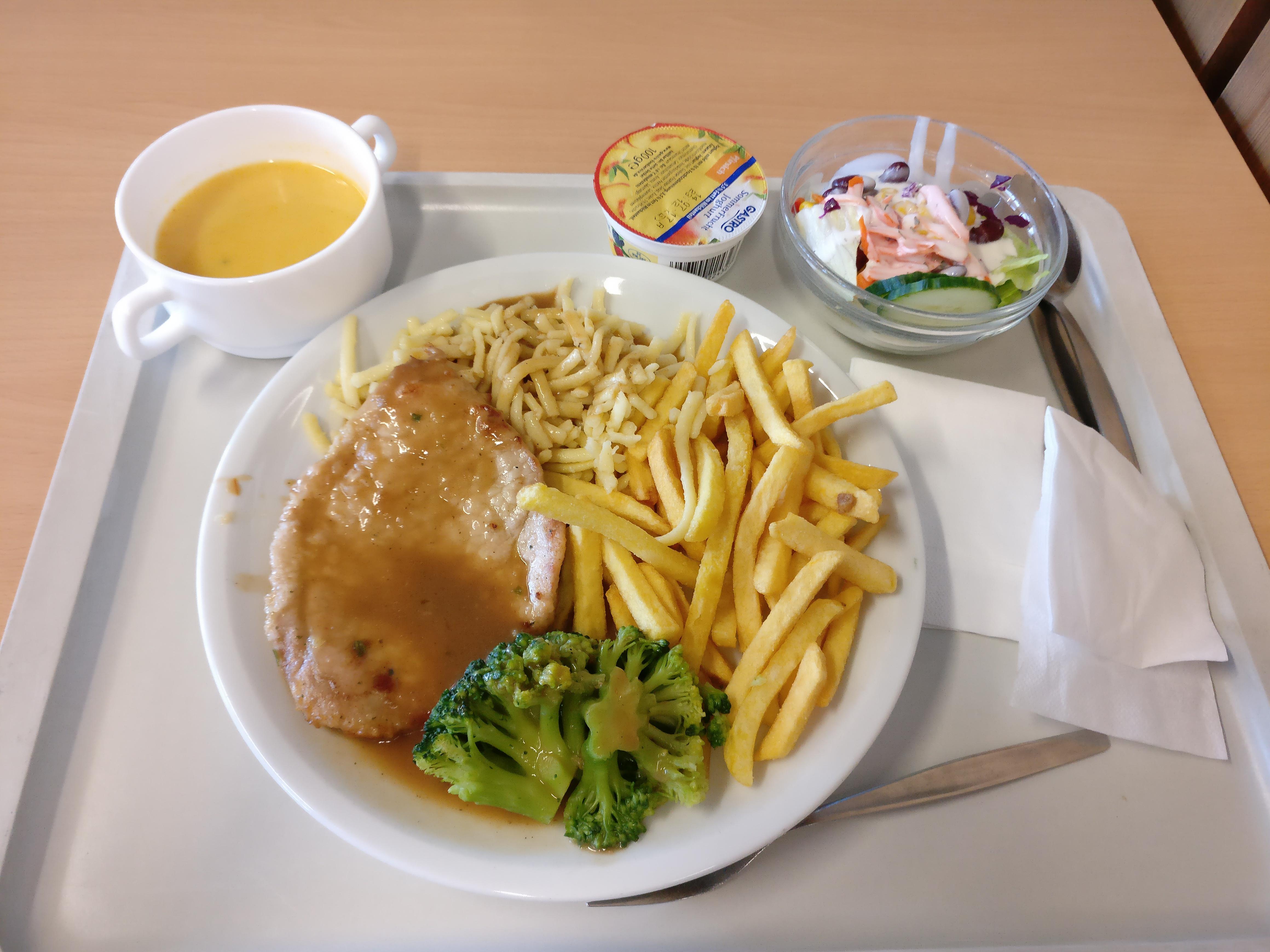 http://foodloader.net/nico_2017-07-06_schweinesteak-spaetzle-pommes-brokkoli-suppe-salat-nachtisch.jpg