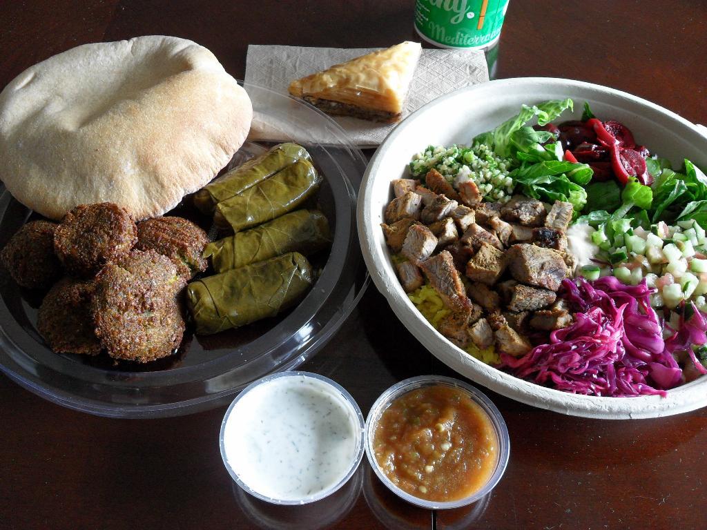http://foodloader.net/sweetie_2013-09-10_wheat_pita__falafel__dolmas__baklava__steak__rice__hummus__salad__cabbage.jpg