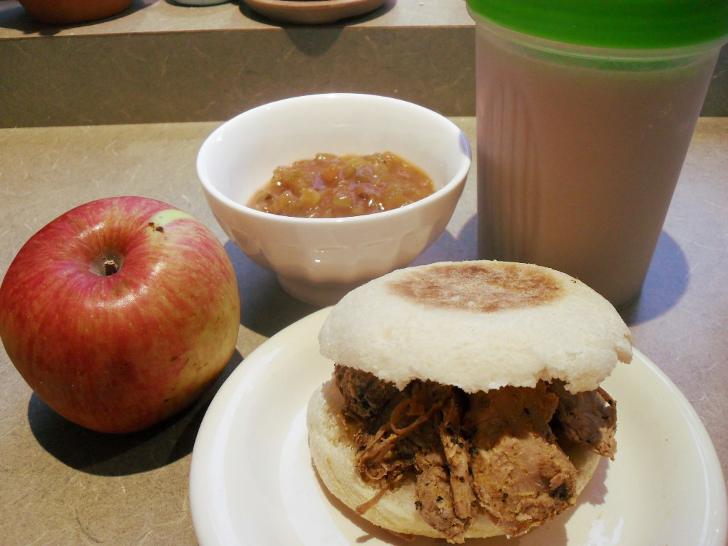https://foodloader.net/sweetie_2013-10-14_apple__salsa__protein_shake__bbq_pulled_pork_sandwich_on_english_muffin.jpg