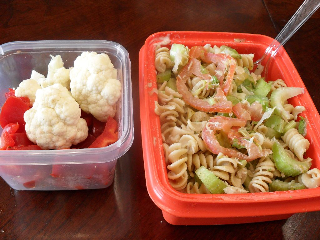 sweetie • 2013-10-15 • cauliflower, bell pepper, wheat pasta, tuna salad, tomatoes, celery