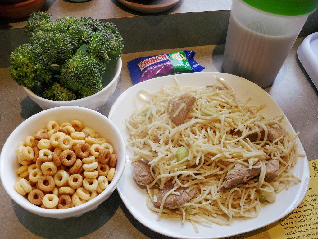 http://foodloader.net/sweetie_2013-10-18_broccoli__candy_bar__protein_shake__cheerios__pasta__gravy__pork__onions.jpg