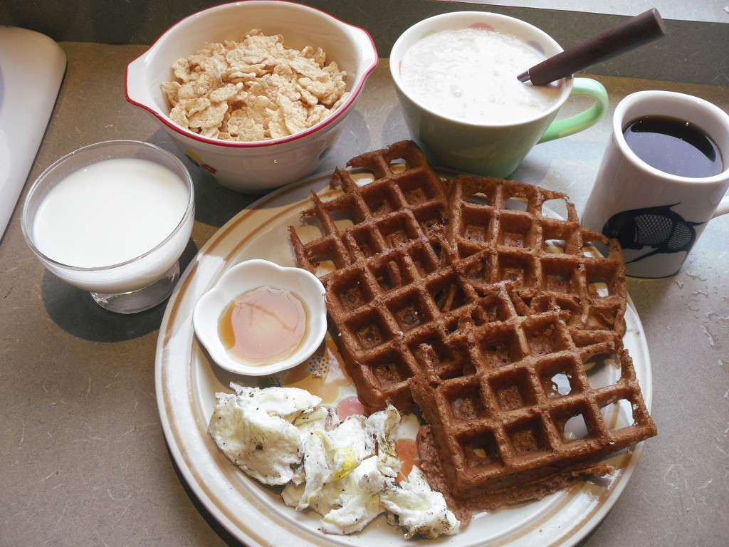 sweetie • 2013-11-19 • goat milk, special k cereal, oatmeal, coffee, chocolate waffle, syrup, eggs