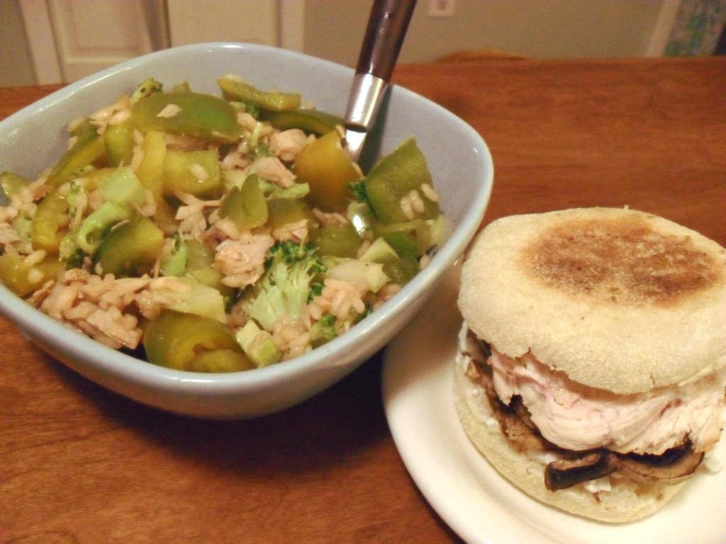 sweetie • 2013-12-16 • sweet & sour rice, tuna, broccoli, bell pepper, chicken sandwich, mushrooms