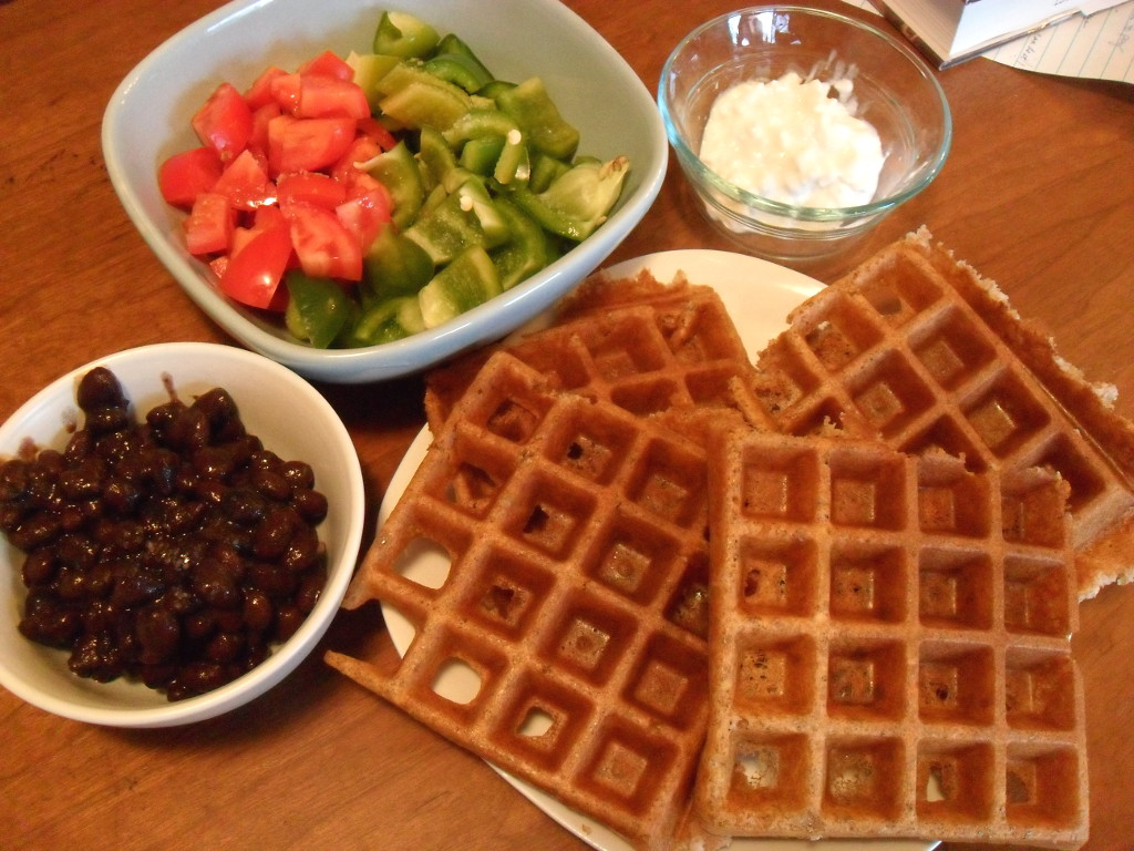 sweetie • 2013-12-18 • tomatoes, bell pepper, cottage cheese, black beans, corn bread waffle