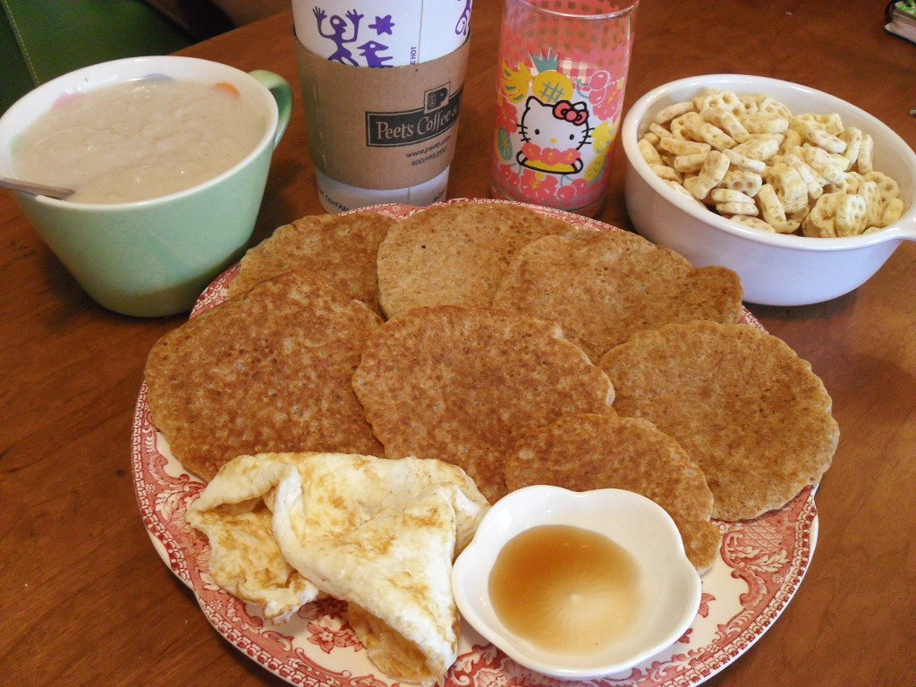 sweetie • 2013-12-24 • oatmeal, coffee, goat milk, honeycomb cereal, pancakes, eggs, maple syrup