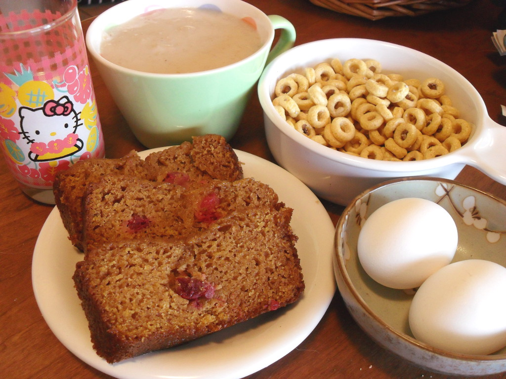 sweetie • 2013-12-26 • goat milk, oatmeal, kashi cheerios, homemade cherry spice bread, eggs